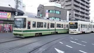 広島電鉄3900形3903号&3950形3954号『ヤクルトラッピング』広電西広島にて