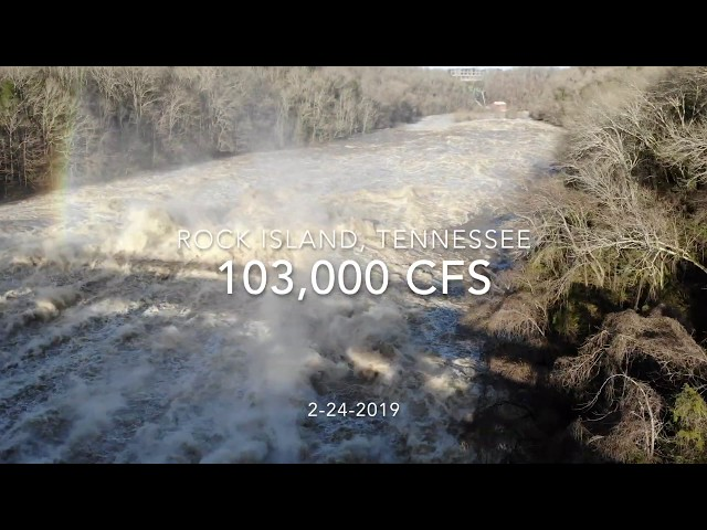 Record Flooding  Footage of Rock Island, TN- Caney Fork River