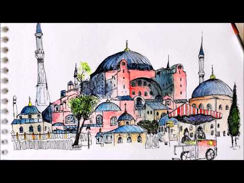 Suluboya Ayasofya Calismasi Hagia Sophia Drawing Youtube