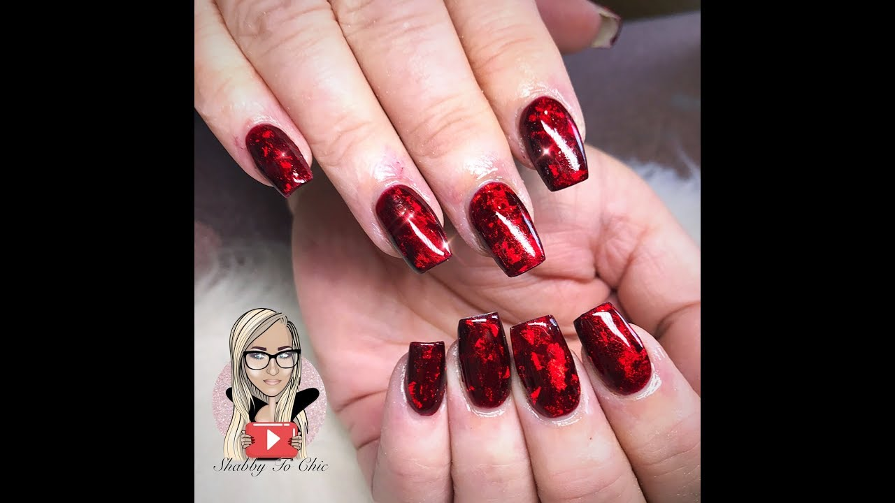 Red Glass Gel Polish Acrylic Nails Short Acrylics Deep Ruby Red