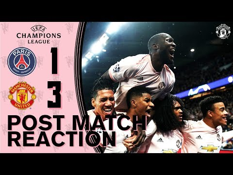 Solskjaer & the squad delighted with win at PSG! | PSG 1-3 Manchester United | UEFA Champions League