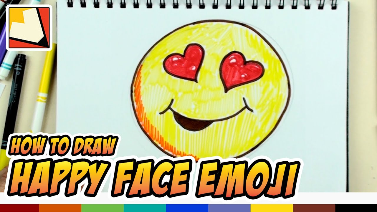 How To Draw A Happy Face Emoji Emoticon With Hearts Art For Kids