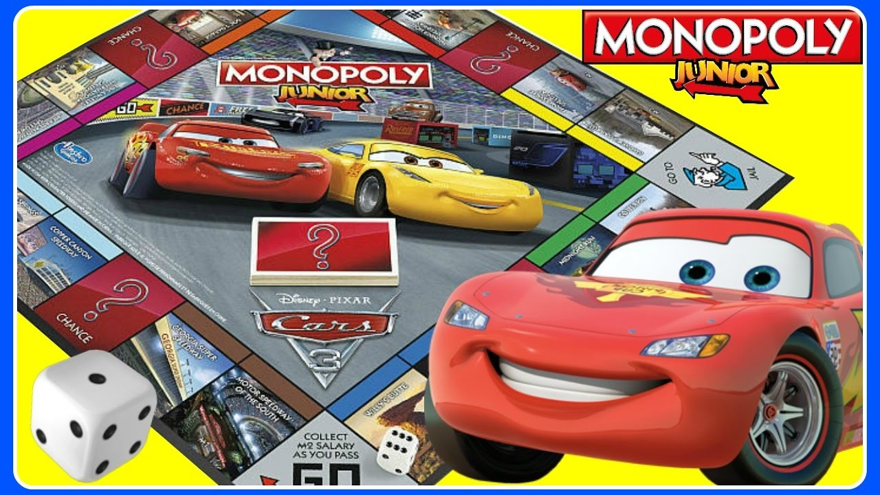Cars 3 Disney Pixar Monopoly Junior Family Game Night Kids Board Game Fun Cars 3