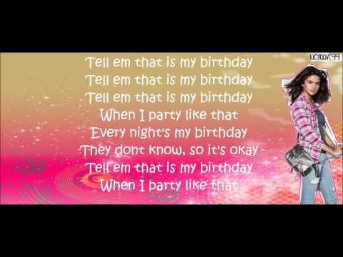 Birthday Selena Gomez Lyrics on screen