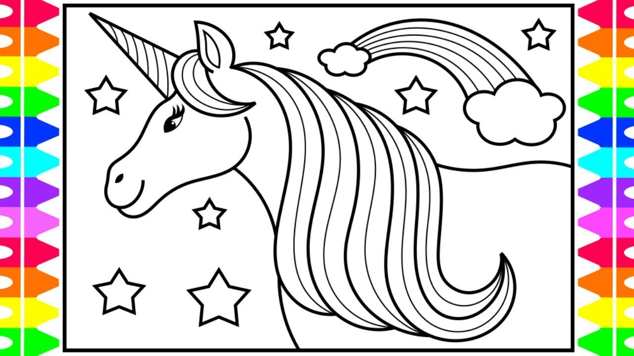 How to Draw a Unicorn for Kids 🦄💜💛💖💚 Unicorn Drawing ...