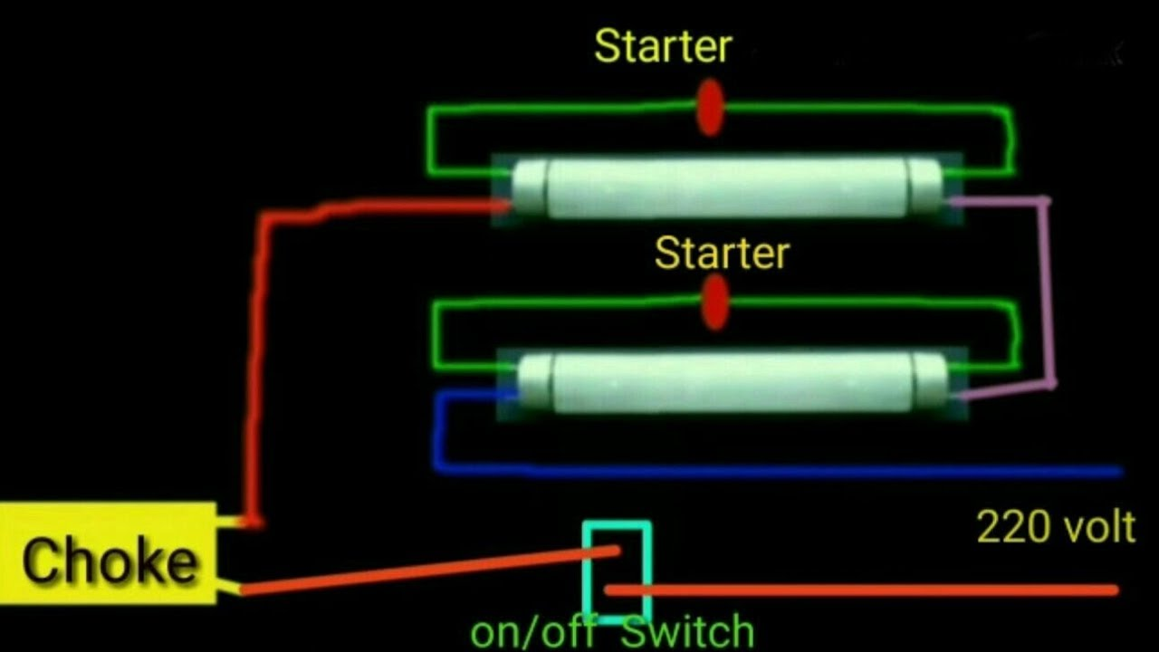 double tube light connection circuit diagram [ 1280 x 720 Pixel ]