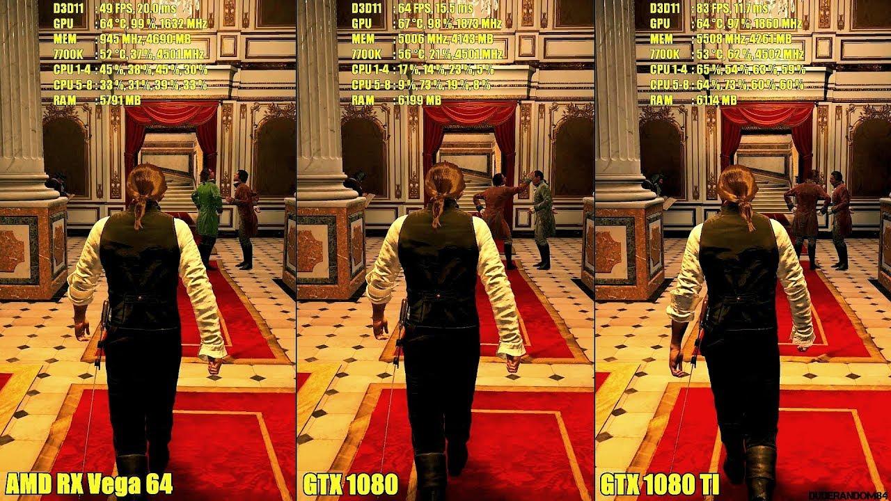Assassin's Creed Unity AMD RX Vega 64 Vs GTX 1080 Vs GTX 1080 TI Frame Rate  Comparison