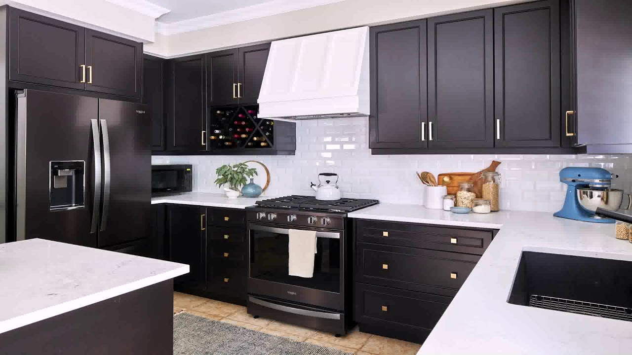 White Kitchen Cabinets With Black Stainless Steel Appliances Youtube