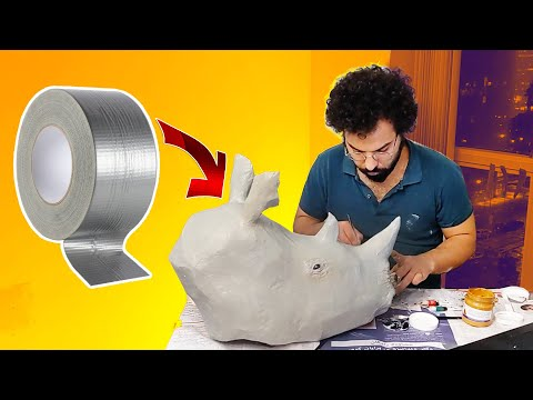 Making a Rhino Mask using paper mache and duct tape