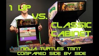 TMNT Arcade 1Up compared to classic arcade cabinet side by side