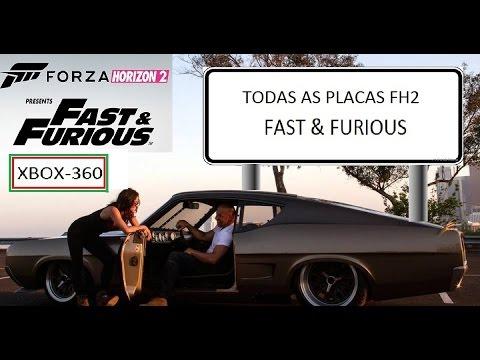 Forza Horizon 2 Fast & Furious - TODAS AS 20 PLACAS XBOX-360