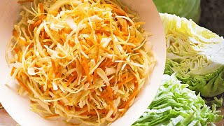 Raw carrots and cabbage salad with vinegar, the cabbage salad recipe which likes to everyone!