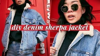 DIY Denim Sherpa Jacket 🐑💕 | WITHWENDY