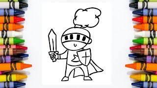 Simple Knight Color And Draw | Step by Step for Kids