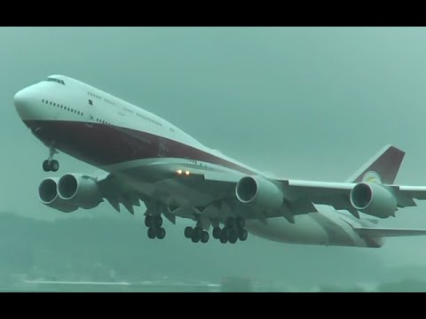 Private Boeing 747-8I [VQ-BSK] rainy departure at Zurich Airport