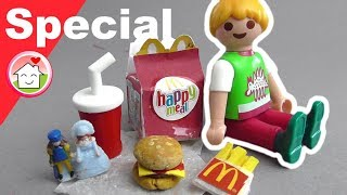 Playmobil deutsch - Pimp my PLAYMOBIL - McDonalds Happy Meal -  DIY für Kinder - Familie Hauser