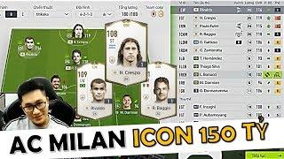 """I Love Trải Nghiệm Đội Hình """" AC MILAN ICON 150 TỶ """" CỰC ĐẸP Với Rivaldo - Crespo & Baggio ICON"""