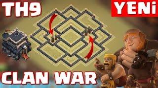 9.Seviye Köy Binası - Klan Savaşı Düzeni - TESLA YOLU TUZAKLI - Clash of Clans ( th9 clan war base )