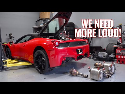 Ferrari 458 Stock Exhaust Removal!!