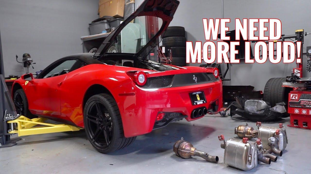 Ferrari 458 Stock Exhaust Removal!!