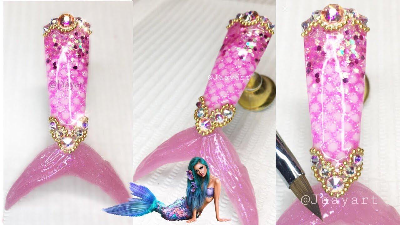 Uña de cola de sirena / Como hacer uña de sirena / Mixed nail art ...
