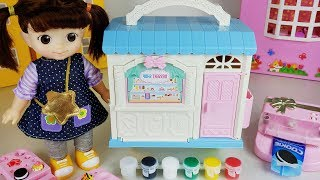 Play Doh food and baby doll dessert shop toys house play - ToyMong TV 토이몽