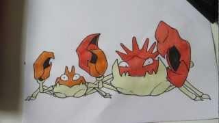 How to draw Pokemon: No.98 Krabby, No.99 Kingler