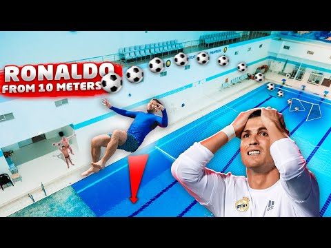 CRISTIANO RONALDO BICYCLE KICK challenge in swimming pool   Soccer overhead VS Diving thumbnail