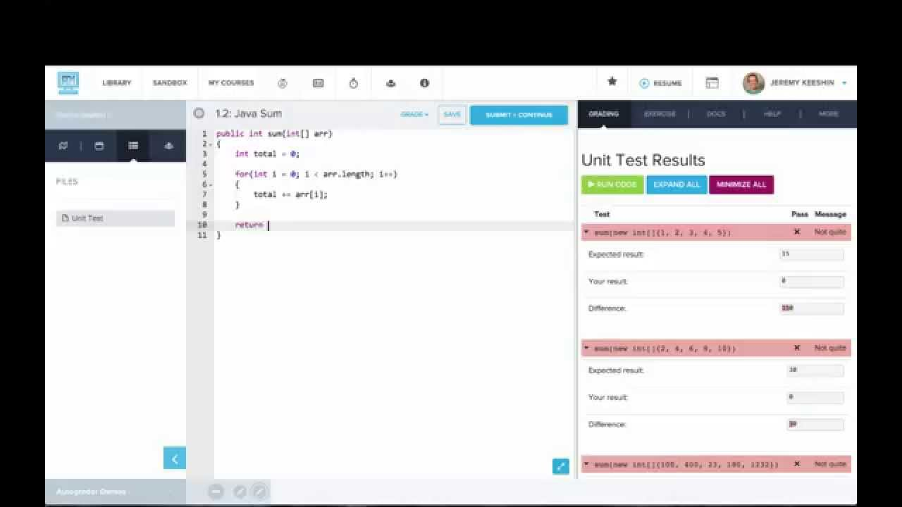 Autograder: Sum in Java -- Arrays as Parameters