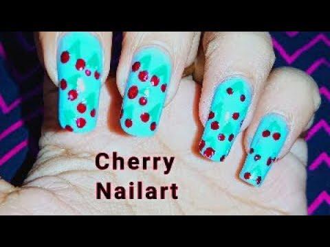 Easy Cherry Nail Art   Cute Cherries Nail Design Tutorial    Stay Happy 365 thumbnail