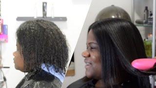 NATURAL HAIR VS. HAIR STRAIGHTENING BRUSH! #SALONWORK