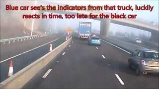 m1 crash british driver driving a dutch lorry ie left hand drive hit and run