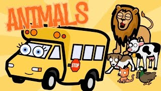 Learning Animals Song With Betsy the School Bus - Baby, Toddler, Kindergarten Kids Learning Video