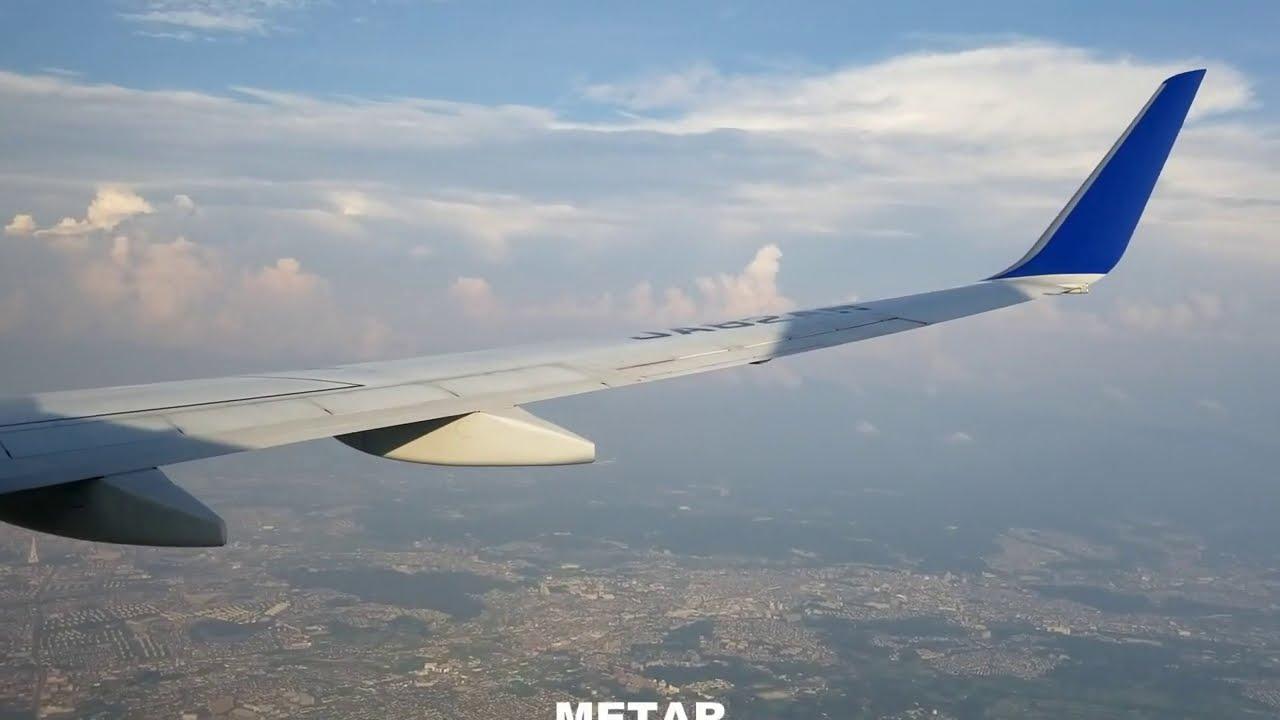 PLの塔をズームしてみた! 伊丹空港ランウェイ32Lへの着陸。ANA B737-800 ITM-RW32L
