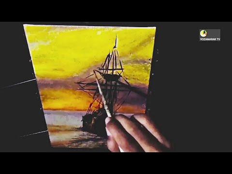 Acrylic Landscape Painting – Sunset Sea with Ship (Timelapse)