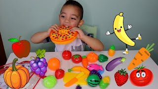 Learn Names of Fruits and Vegetables Playset for Children