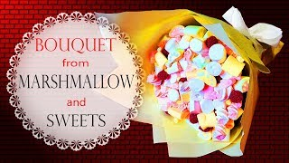 Fantastic Bouquet from Raspberry Candies and Marshmallow | Super Gift Ideas