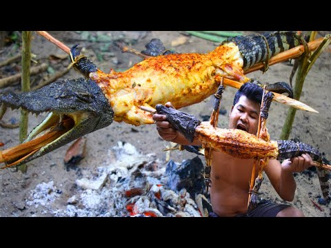 Cooking Crocodile Lechon Bbq Recipe - Roasted Crocodile Meat Bbq With Chili Sauce