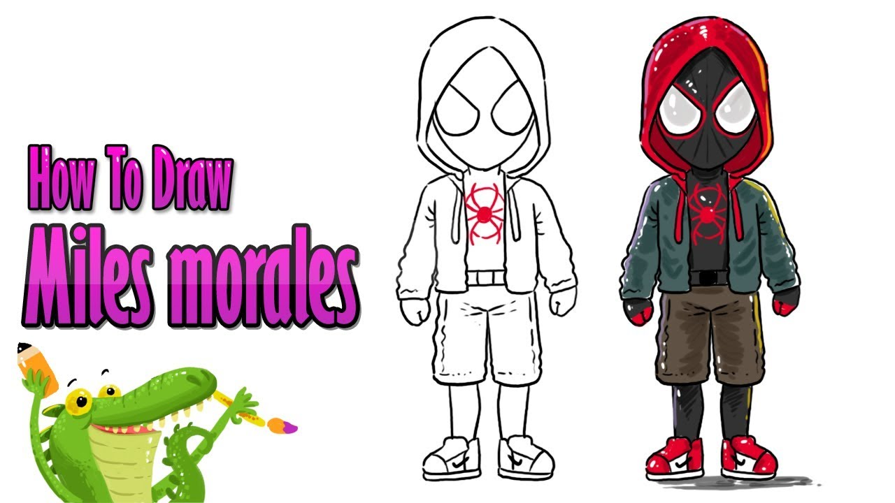 How To Draw and Coloring miles morales spider verse step ...