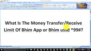 What Is The Money Transfer/Receive Limit Of Bhim App or Bhim ussd.