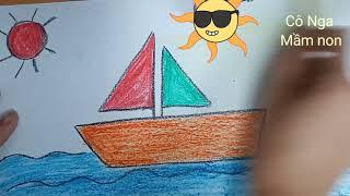 Vẽ thuyền buồm ⛵,  vẽ thuyền đơn giản