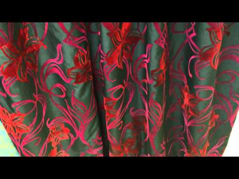 Black Silk Fabric with Red Flock Flower Curtain In Gf Creations