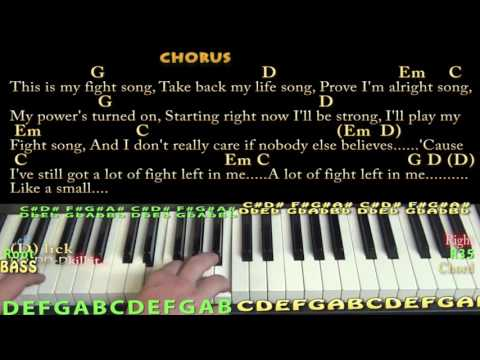 Fight Song (RACHEL PLATTEN) Piano Cover Lesson with Chords/Lyrics
