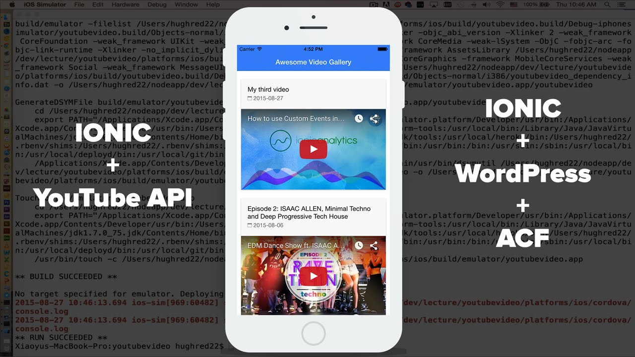 build hybrid app for your youtube channel or wordpress site with ionic and angularjs youtube