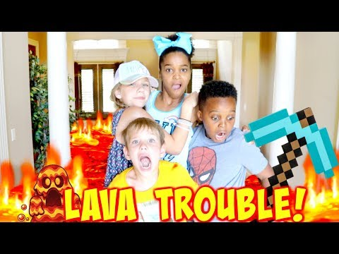 Thumbnail: THE FLOOR IS LAVA TROUBLE with Shasha and Shiloh Onyx Kids - SuperHero Kids