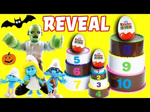 Smurfs Halloween Layer Cake Surprise Game REVEAL! Candy, Smurfette, Brainy, Papa Smurf & Monsters!