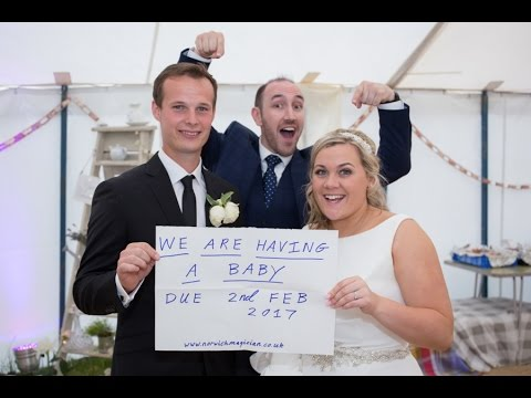 Magician reveals Bride & Groom are having a baby!