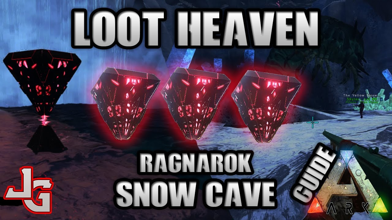 ARK - Loot Heaven - Snow Cave Guide - Best way to farm loot - Ragnarok map