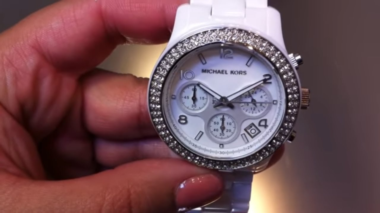 87b98b5f6 Women's Michael Kors White Ceramic Chrono Watch MK5188 - YouTube