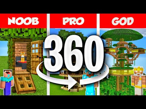 360 VR Minecraft NOOB vs PRO vs HACKER: Jungle Tree House Build Challenge in Minecraft 360